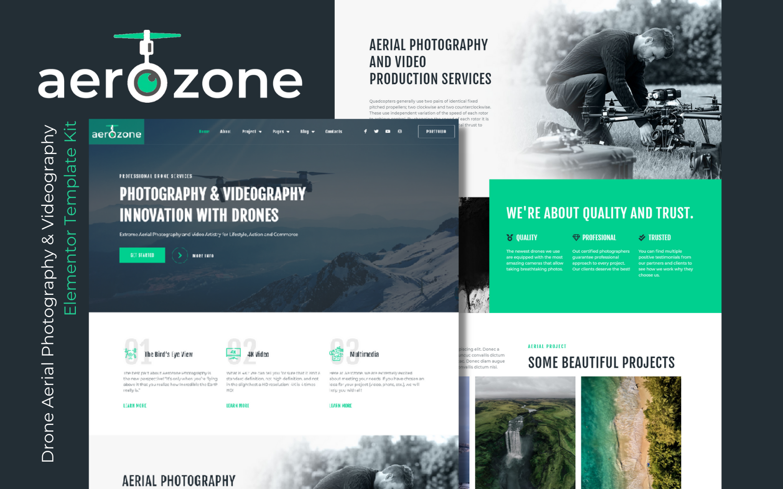 Aerozone – Drone Aerial Photography & Videography Elementor Pro Template Kits